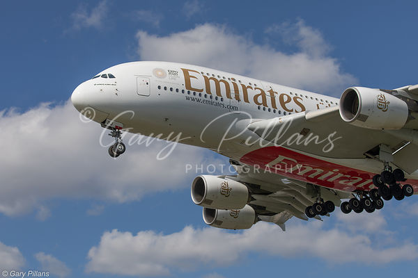Emirates A380 landing at London Heathrow