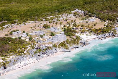 Aerial view of the mayan ruins on the beach, Tulum, Mexico