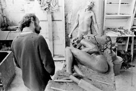 ##74890,  John Blakeley, sculptor, lived and worked at Digswell House, an artists' community run by the Digswell Arts Trust, ...