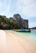 Typical longtail boat on Nui beach, Phi Phi islands, Thailand