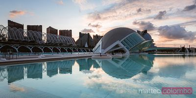 The Hemispheric panoramic at sunset, Valencia, Spain