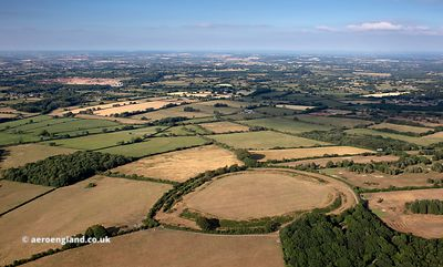 Maesbury Castle hillfort Somerset from the air