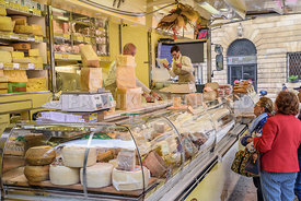 VERONA, ITALY -27 OCT 2017- View of artisanal Italian cheese mobile shop in the Piazza Bra in Verona, Italy.