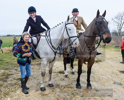 Fiona Gibson and James Sparrow at the meet. The Belvoir Hunt at Long Clawson 21/1