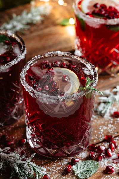 Vibrant red cocktail with pomegranate juice