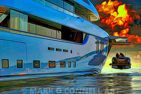 art,painting,airbrush,superyacht,lunasea,sunset,tender,crew,water,ocean,sea