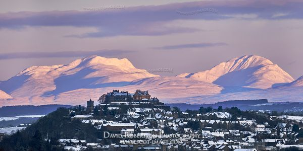 Prints & Stock Image - City of Stirling with a backdrop of snow covered mountains - Ben Vorlich and Stuc a Chroin, Stirling, ...