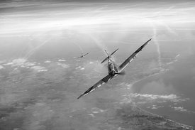 Battle of Britain Spitfires over Kent, B&W version