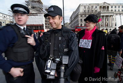 Police FIT team video protesters at a protest rally, London.