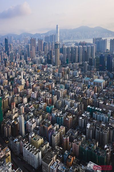 Drone view of residential district, Hong Kong, China
