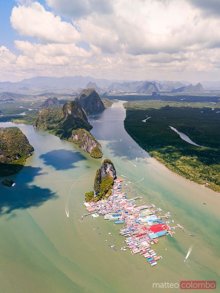 Aerial of Ko Panyi and karst peaks, Phang Nga bay, Thailand