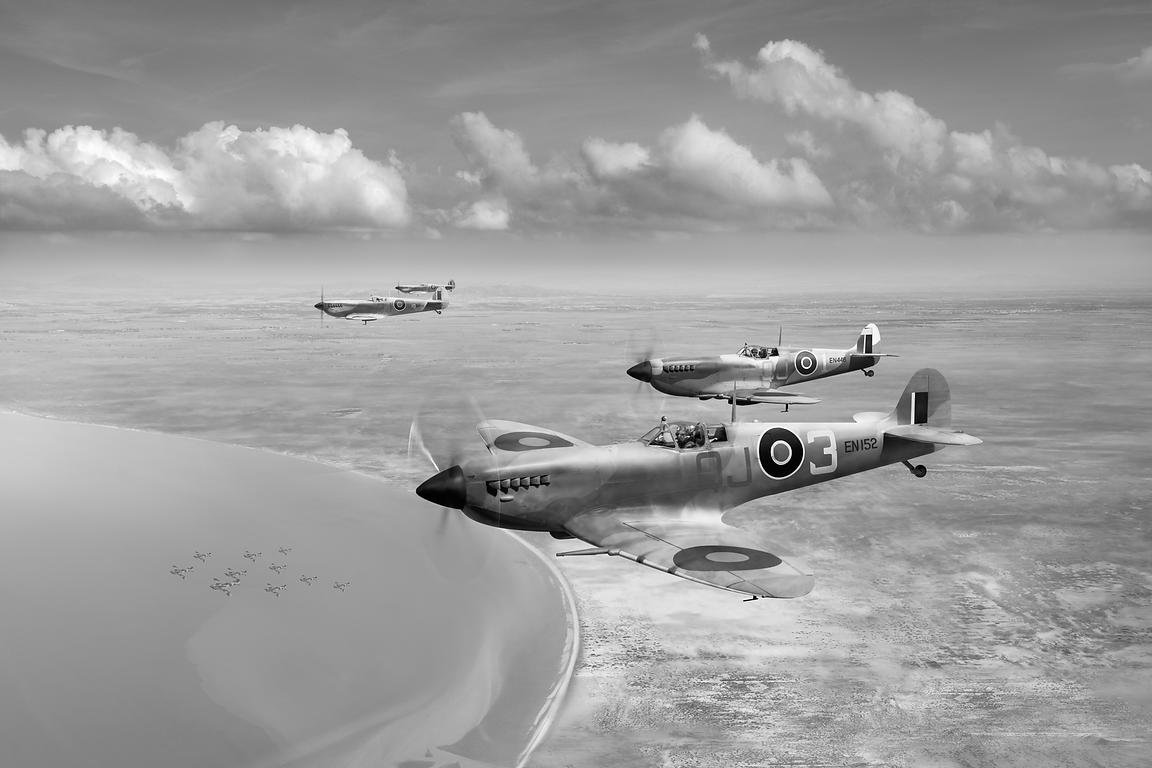 Spitfires over Tunisia black and white version