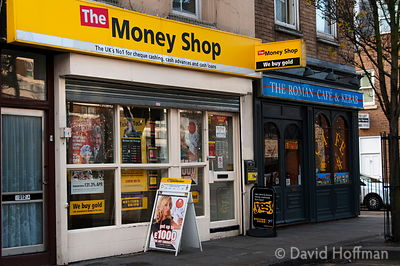 The poverty business. Pawnbroker's shop offering cash loans for people's property in the run up to Christmas, 11 December 2012.