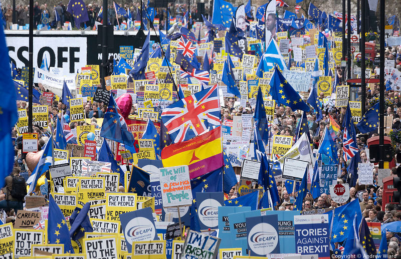 "England, UK . 23.3.2019. London . ""Put It To The People"" march over one million strong calling for another EU referendum over..."