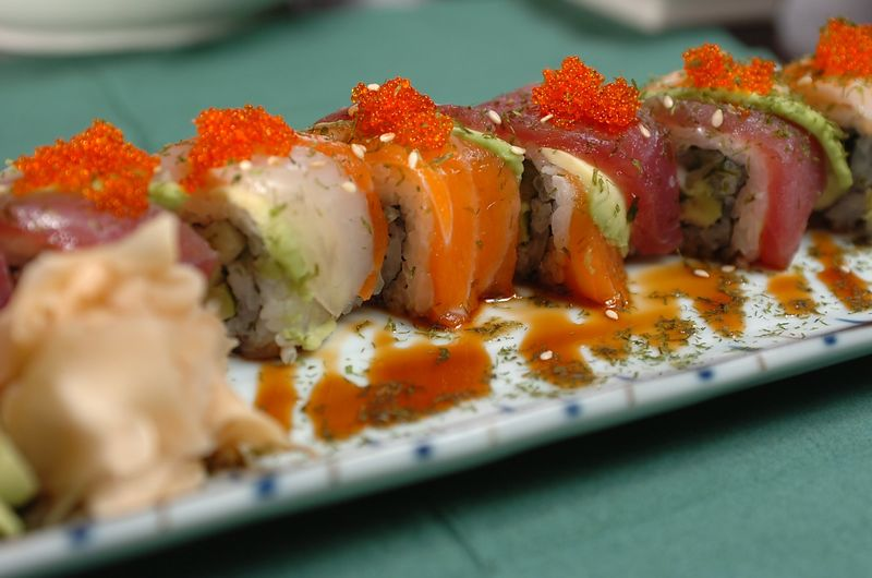 Restaurant Review. Ichiban Sushi Restaurant. Pictured is  the Rainbow Maki.  Albany Road, Roath. Picture : Liz Pearce . 070909.