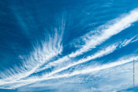 #72001,  Cirrus clouds above southern England on a windy day.