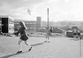 #83809,  Flying a kite, Whitworth Comprehensive School, Whitworth, Lancashire.  1970.  Shot for the book, 'Family and School,...
