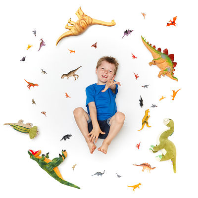 Boy surrounded by toy Dinosaurs