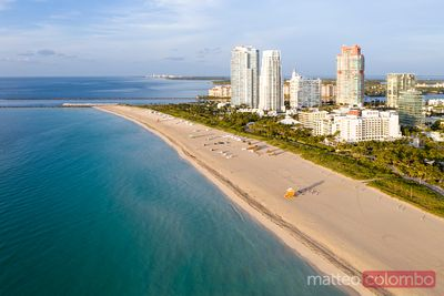 Aerial view of South beach at sunrise, Miami, USA