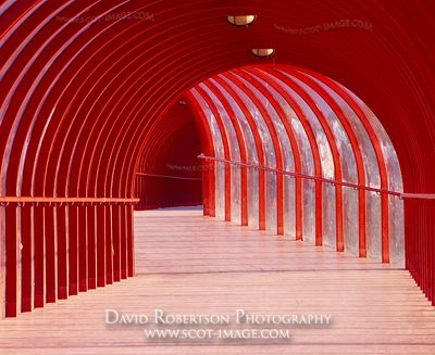 Image - Red, arched covered walkway
