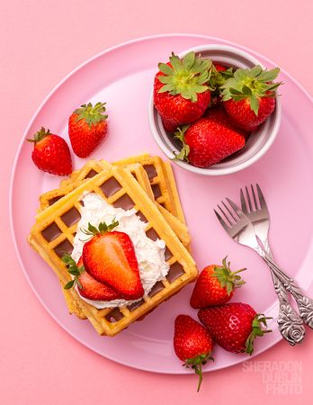 Chocolate Waffles with fresh strawberries,  Food Photographer London Surrey Kent Sheradon Dublin