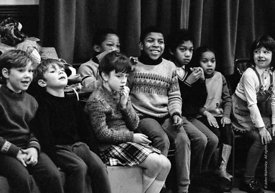 #74726,  Anna Scher Children's Theatre, Bentham Court Hall, Islington, North London 1972.  Kids would come after school and b...