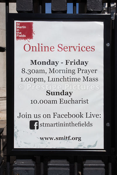 Online services at St Martin in the Fields sign