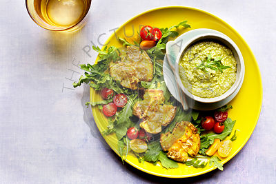 Smashed Potatoes with Roasted Poblano Pesto