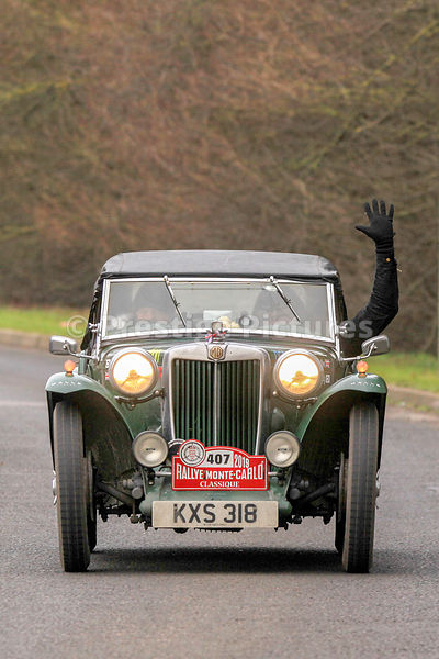 Adam Gompertz & Craig Callum in their 1949 MG TC approaching Passage Control in Banbury