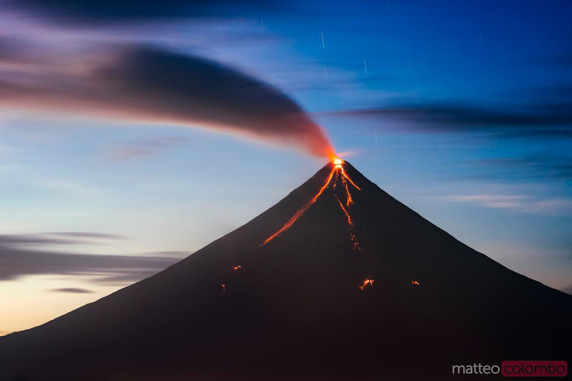Volcano Mayon eruption with smoke, Philippines