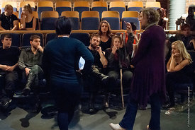 #72298,  Actors, Director and technical staff gather for 'Notes' after a Dress Rehearsal for Shakespeare's, 'Macbeth', Rose B...