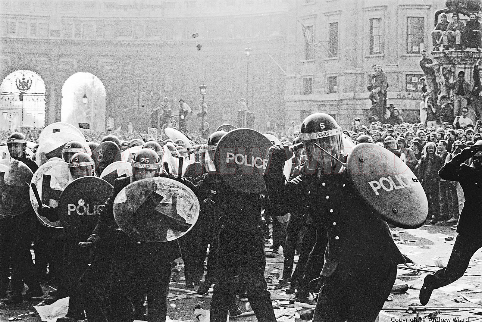 England , UK . London . 31.3.1990 . Poll Tax Riot . Demonstrators marched to a protest rally in Trafalgar Square against the ...