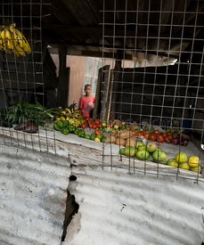 Fruit in little shop made with sheet metal, Africa, Tanzania