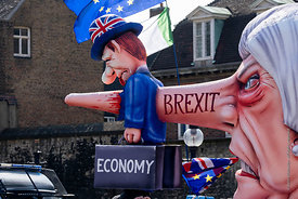 #124655  An effigy of the British Prime Minister, Theresa May MP, created by Brexiteers (in favour of Brexit) who demonstrate...