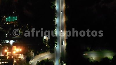 Nairobi fby night rom above, drone view