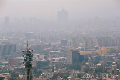 Smog from traffic pollution hangs heavily over Mexico City. Situated in a valley this area suffers from severe air pollution.