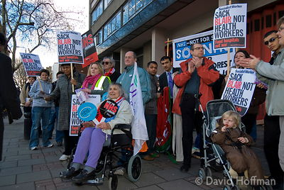 NHS demo London Hospital 3 March 07 NHS employees and members of the public demonstrating as part of NHS Together in defence ...