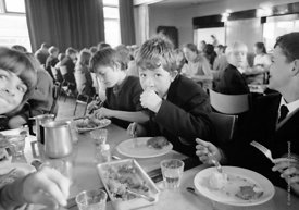 #83742,  Lunch time in the canteen, Whitworth Comprehensive School, Whitworth, Lancashire.  1970.  Shot for the book, 'Family...