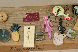 "#72998,  Individual ""Keys"" made by students for the ""In/Out"" board, carpentry workshop, Summerhill School, Leiston, Suffolk. ..."