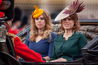 Princesses Beatrice and Eugenie on their way to the 2016 Trooping the Colour Ceremony in an open top carriage