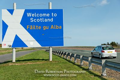 Image - Welcome to Scotland border sign on the A1, silver car