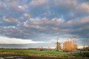 Dutch polder mill in morning light landscape
