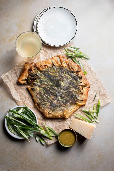 Onion galette with buttery crust