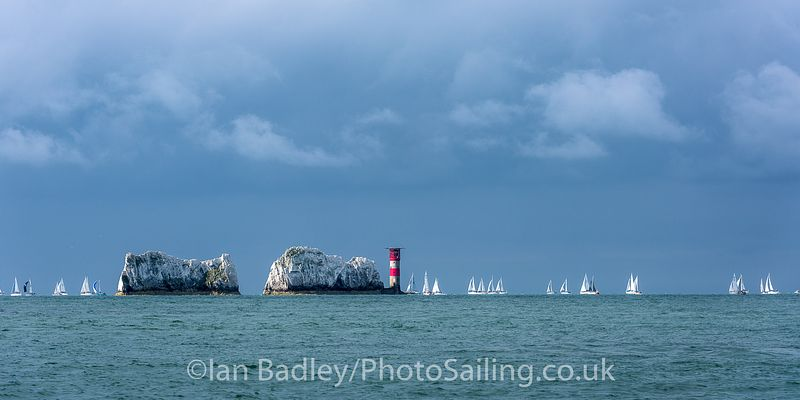 Yachts round the Needles
