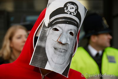Protester in an L Ron Hubbard (founder of Scientology) mask outside the London Headquarters of the Church of Scientology on S...