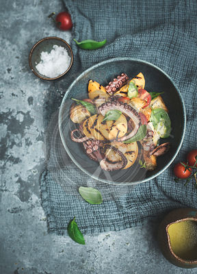 Octopus and Grilled Peach Panzanella