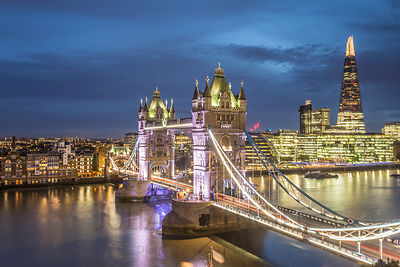 Tower Bridge and the River Thames in London.