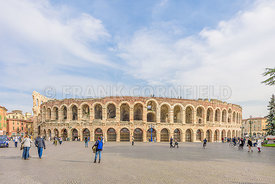VERONA, ITALY - OCTOBER 26, 2017: Verona amphitheatr completed in 30AD, the third largest Roman Arena in the world.