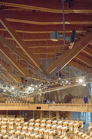#027694,  Roof construction, debating chamber of the new Scottish Parliament building at Holyrood, Edinburgh.  Designed by Sp...