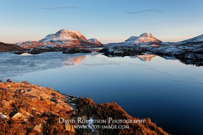 Image - Cul Mor and Cul Beag reflected in Loch Sionascaig, Inverpolly, Scotland
